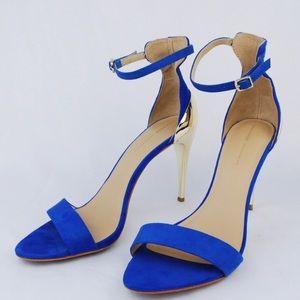 Zara cobalt blue suede sandals with gold heels
